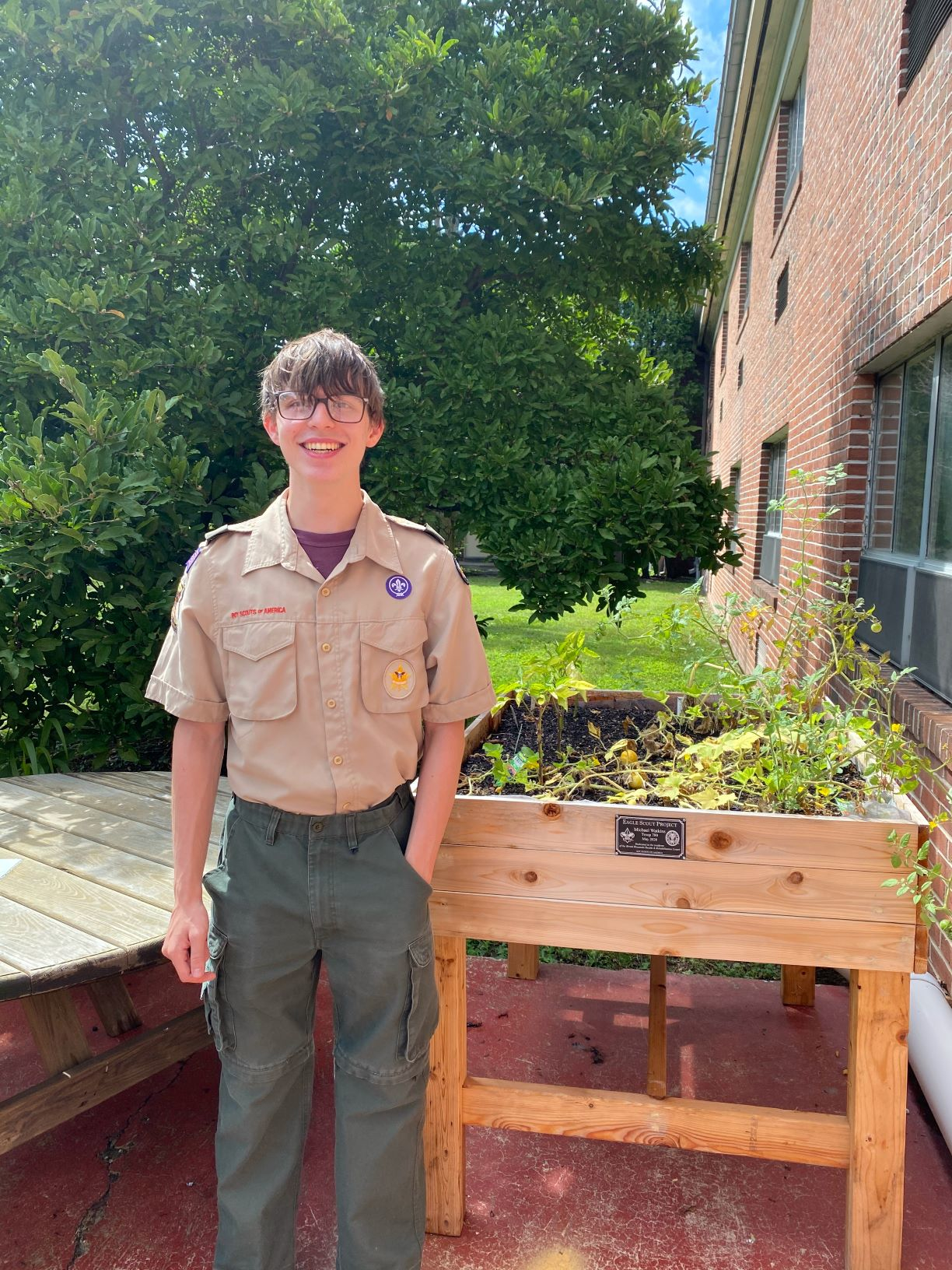 Boy Scout Builds Planters for Local Facility