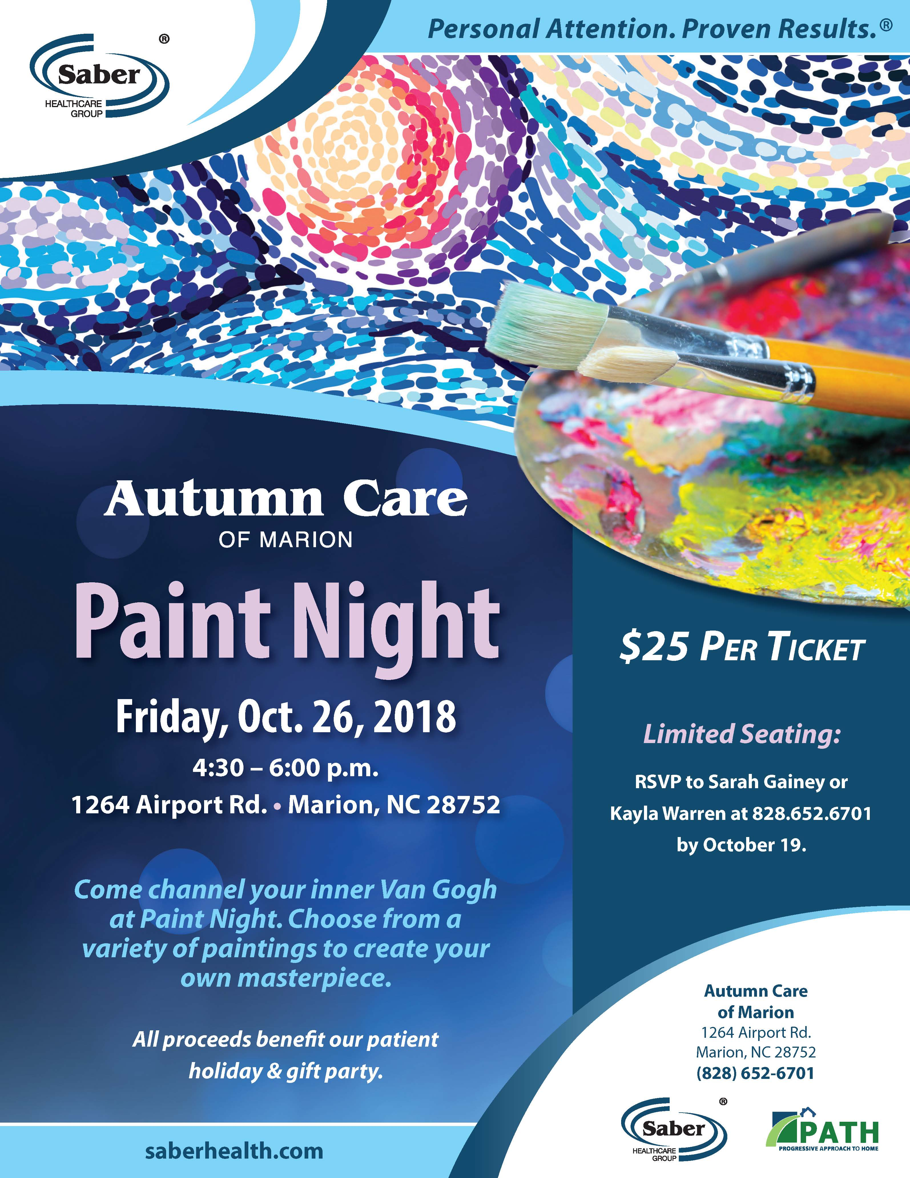 Paint Night Event at Autumn Care of Marion